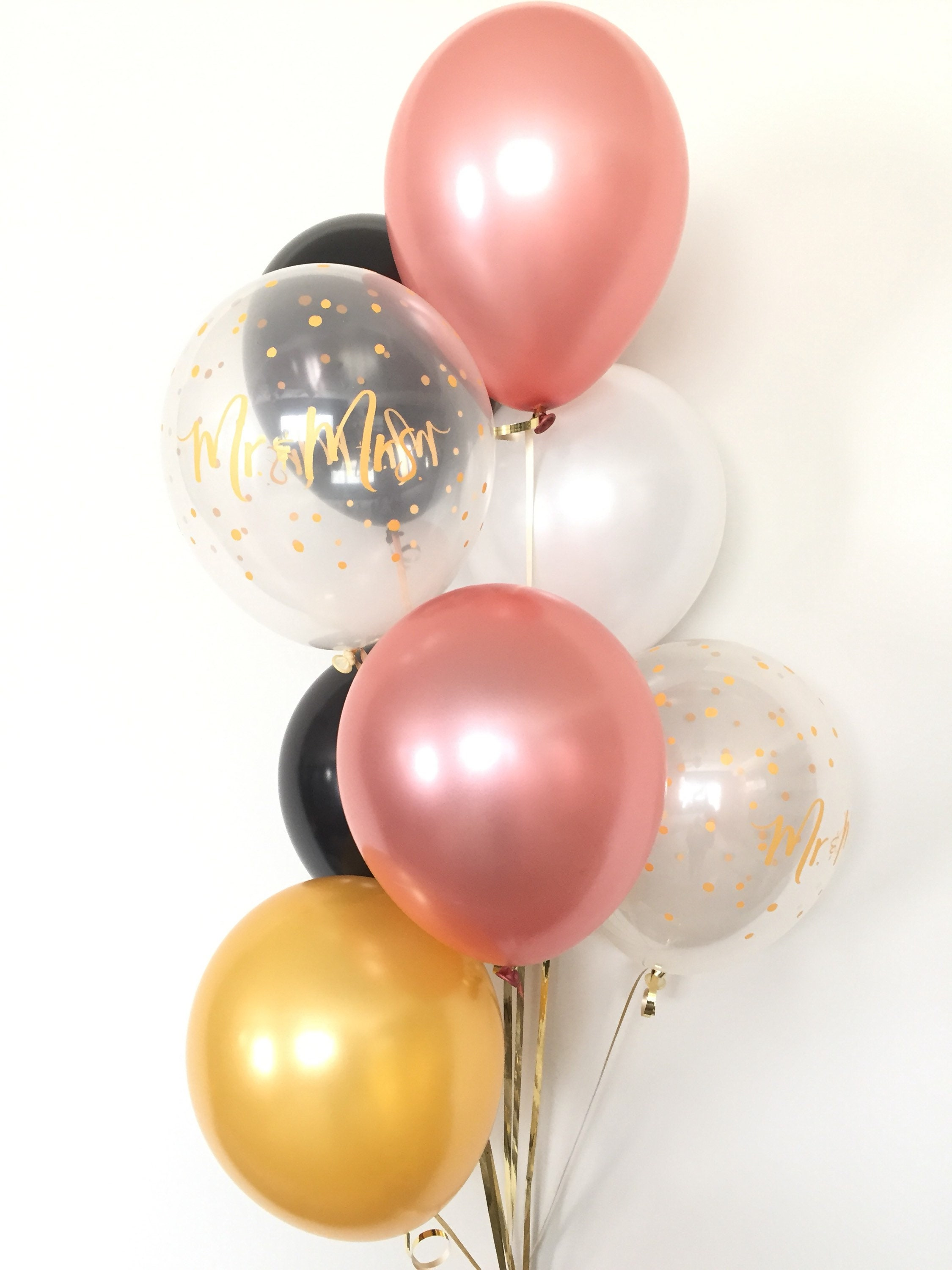 Rose Gold Balloon Bouquet Rose Gold And Black Balloons Rose Gold Balloons Rose Gold Bridal Shower Decor Mr Mrs Balloons