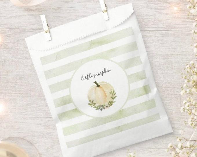 Little Pumpkin Favor Bags | Sage Baby Shower Favors | Green Little Pumpkin Baby Shower Favors | Gender Reveal Baby Shower Favor Bags