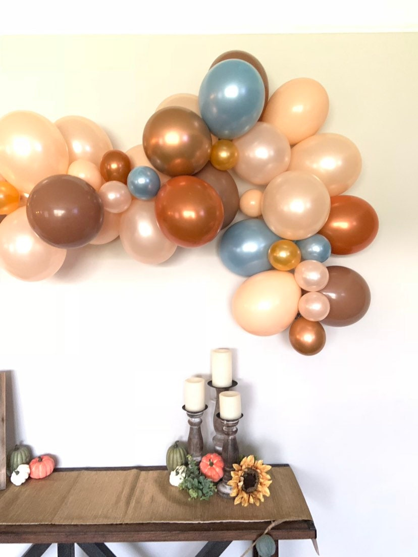 Little Pumpkin Balloon Garland Rustic Pumpkin Baby Shower Decor Slate And Rust Balloon Garland Fall Bridal Shower Blue Pumpkin Baby