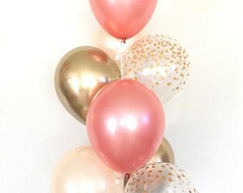 Blush and Rose Gold Balloons   Rose Gold and Chrome Gold Balloons   Gold and Blush Balloons   Rose Gold Bridal Shower Decor   Blush Bridal