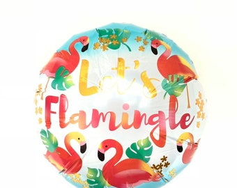 Let's Flamingle Balloon | Aloha Bridal Shower Decor | Tropical Balloons | Tropical Baby Shower Decor | Let's Flamingle Birthday Balloons