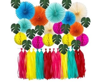 Tropical Party Decor | Tropical Tassels | Tropical Backdrop | Tropical Bachelorette Party Decor | Paper Fans | Honeycombs | Fiesta Party