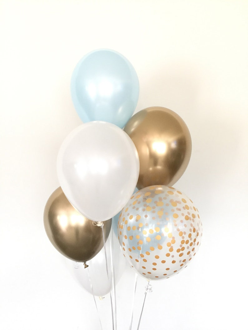 Blue and Gold Balloons  Blue and Chrome Gold Balloons  image 0