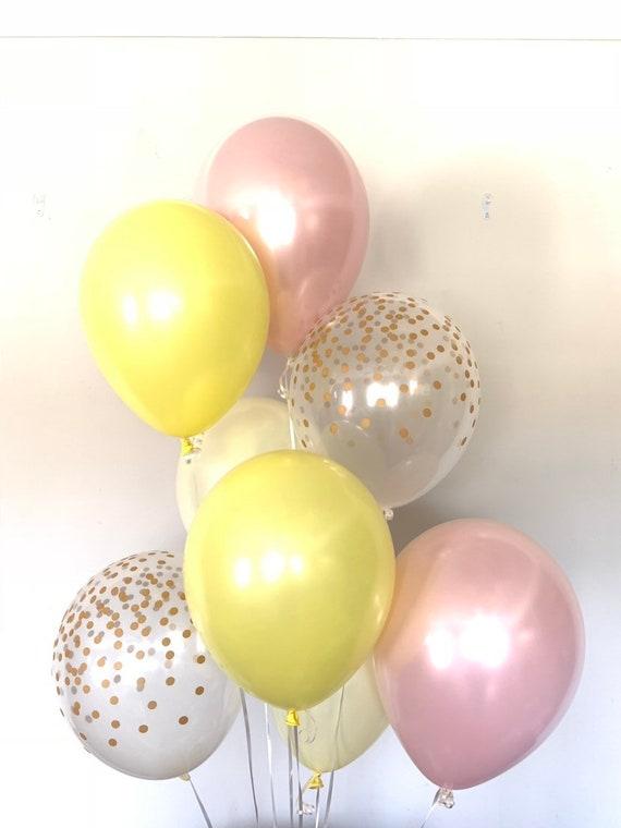 Yellow and Blush Balloons Citrus Bridal Shower Decor Pink Lemonade Balloons Pink Lemonade First Birthday Citrus Bab Lemon Balloons