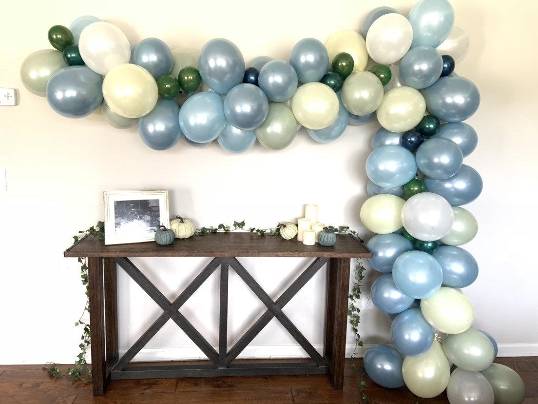Dusty Blue Balloon Garland Slate Blue Bridal Shower Decor Sage Green Balloon Garland Wedding Balloon Garland Spring Balloon Garland