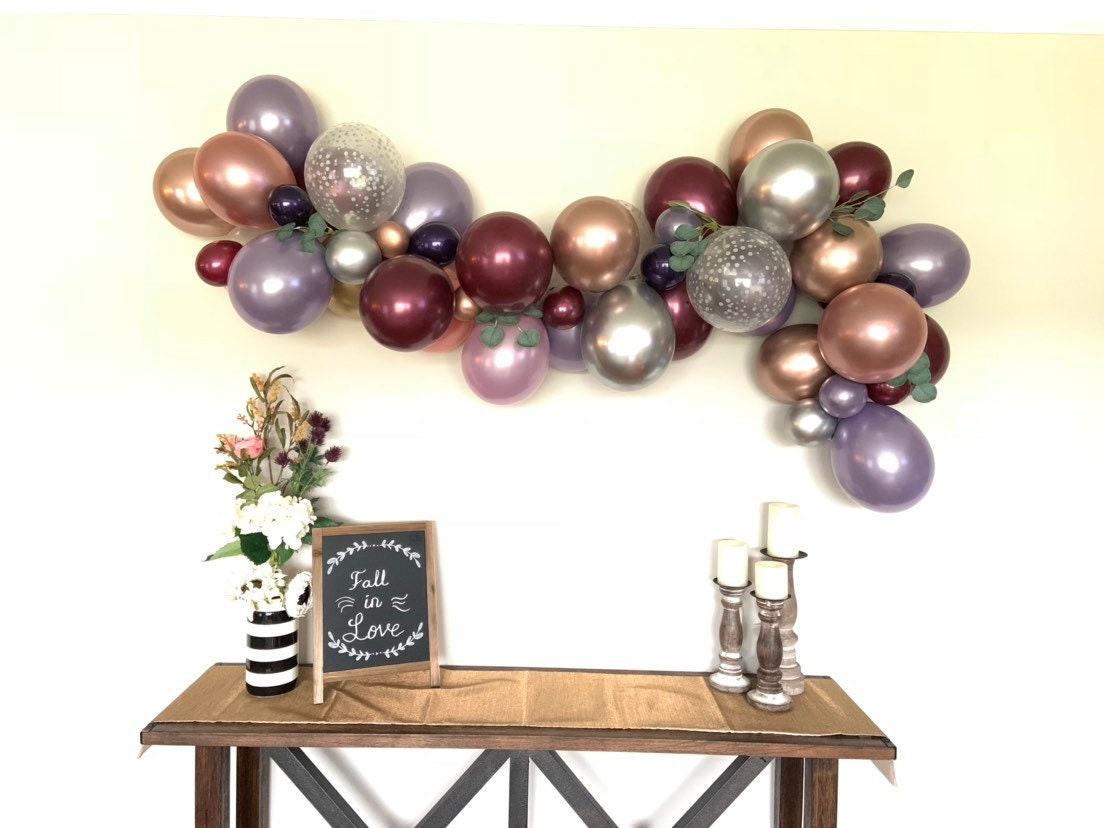 Amethyst And Burgundy Balloon Garland Rustic Pink Pumpkin Baby Shower Decor Dusty Mauve Balloon Garland Fall Bridal Shower Plum Baby