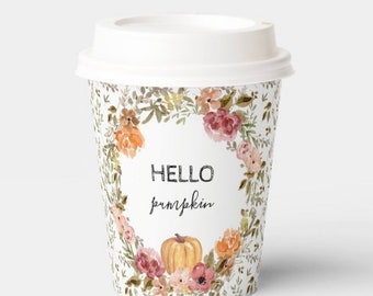 Hello Pumpkin Cups | Hello Pumpkin Baby Shower | A Little Pumpkin is on the Way | | Hello Pumpkin First Birthday | Fall Baby