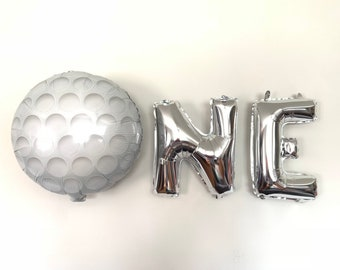 Hole In One Balloons | Silver One Balloons | Silver High Chair Banner | Golf First Birthday Balloons | One Balloons | First Birthday Photo