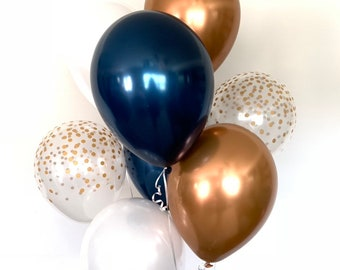 Navy Balloons | Navy and Copper Balloons |Navy and White Balloons | Baby Shower Decor | Blue Birthday Balloons | Navy Bridal Shower Decor