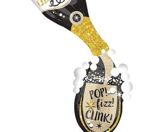 Champagne Bottle Balloons | New Year's Eve Party Decor | Pop Fizz Clink | Bachelorette Party Decor | 21st Birthday Balloons