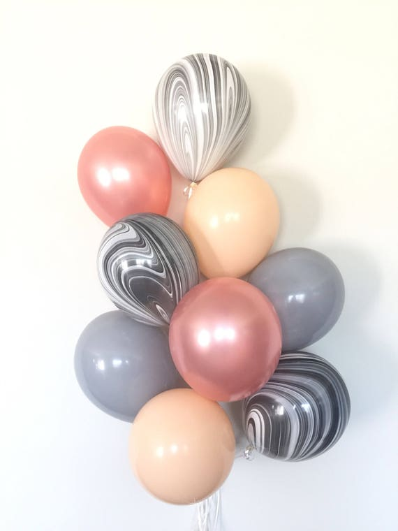 Rose Gold Balloon Bouquet Blush And Gray Balloon Bouquet Etsy