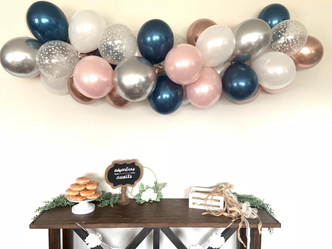 Blush And Navy Balloon Garland Diy Kit Blush And Navy Bridal Shower Decor Silver And Blush Baby Shower Wedding Balloon Garland Photo