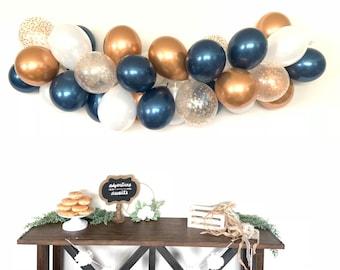 Navy and Copper Balloon Garland DIY Kit | Copper and Navy Bridal Shower Decor | Gold Baby Shower | Wedding Balloon Garland Photo Prop