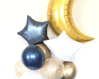 Twinkle Twinkle Little Star Baby Shower, Boy Baby Shower, Oh Boy Balloon, Boy Oh Boy Baby Shower Decor   Navy Balloons, Moon and Star Balloo