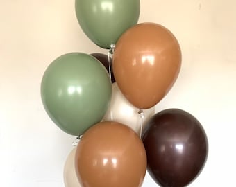 Green and Brown Balloons | Woodland Balloons | Camo Balloons | Woodland Baby Shower Decor | Camouflage Baby Shower