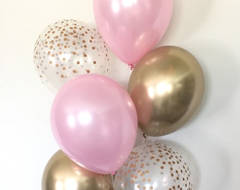 Pink and Gold Balloons   Pink and Chrome Gold Balloons   Pink Balloons   Gold Bridal Shower Decor   Pink Bridal Shower