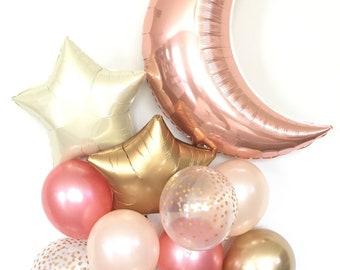 Twinkle Little Star Balloons | Rose Gold Balloons | Rose Gold Baby Shower Decor | Rose Gold Birthday | Girl Twinkle Little Star Birthday