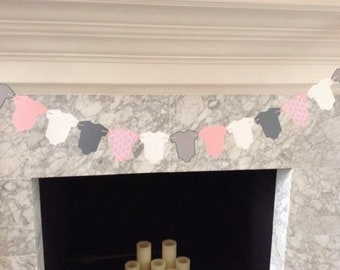 Pink Baby One-Piece Banner | Pink and Gray Baby Garland | Pink Baby Shower Decor | Pink, Gray & White Baby Banner | Pink Baby Shower Garland