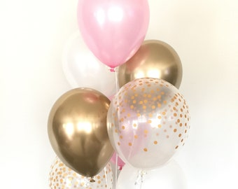 Pink and Gold Balloons   Pink and Chrome Gold Balloons   Pink Balloons   Gold Bridal Shower Decor   Pink and White Bridal Shower
