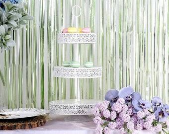 Sage Fringe Curtains | Sage Foil Curtains | Sage Birthday Party Decor | Sage Bridal Shower Decor |  Sage Backdrop