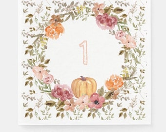 One Little Pumpkin Napkins Luncheon | Fall Floral and Pumpkin Napkins | Our Little Pumpkin is One First Birthday Party Decor
