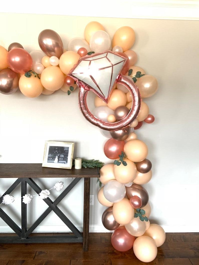 Rose Gold Diamond Ring Balloon Rose Gold Bridal Shower Decor Wedding Ring  Balloon Photo Prop Rose Gold Bridal Shower Balloons