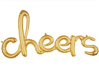 Cheers Balloon | Engagement Party Decor | Gold Cheers Script Balloon | Gold Birthday Party Decor