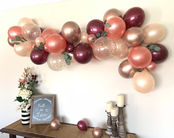 Chrome Rose Gold and Burgundy Balloon Garland | Rose Gold Bridal Shower Decor | Fall Baby Shower Decor | Fall Bridal Shower