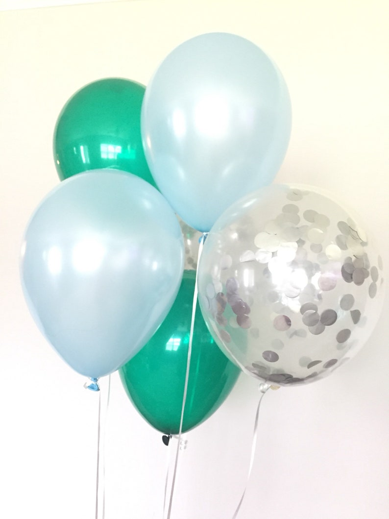 Silver Confetti Balloons Baby Shower Decor Birthday Balloons Boy Oh Boy Balloons Green and Blue Balloons Blue and Green Balloons