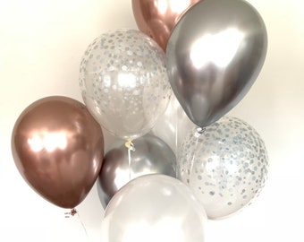 NEW Chrome Rose Gold and Silver Balloons | Rose Gold Bridal Shower Decor | Chrome Silver Balloons | Silver and Rose Gold Birthday Decor