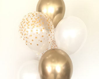 White and Gold Balloons | Gold Confetti Balloons | White Balloons | Chrome Gold Balloons | White and Gold Bridal Shower Decor | Wedding