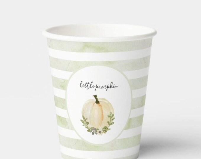 Green Little Pumpkin Cups | White Little Pumpkin Baby Shower | A Little Pumpkin is on the Way | | Little Pumpkin First Birthday | Fall Baby
