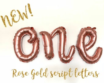 Rose Gold One Balloons | Rose Gold Script Letter Balloons | Rose Gold High Chair Banner | First Birthday Balloons | Custom Balloon Letters