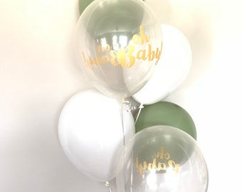 Oh Baby Balloons | Eucalyptus Balloons | Gender Reveal Balloons | Gender Reveal Baby Shower Balloons | Baby Shower Decor | He or She?