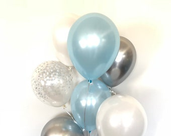 Blue and Silver Balloons   Blue and Chrome Silver Balloons   Something Blue   Silver Bridal Shower Decor   Blue Bridal Shower