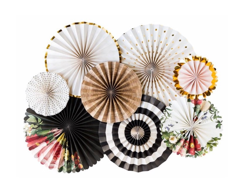 Floral Black And White Paper Fans Paper Fans Wall Decor