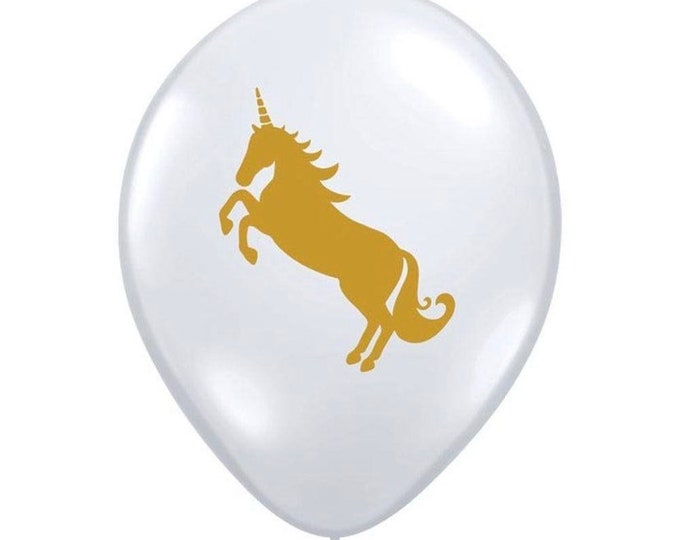 Unicorn Balloons | Unicorn Latex Balloons | Unicorn Birthday Party Decor | Gold Unicorn Latex Balloons Clear