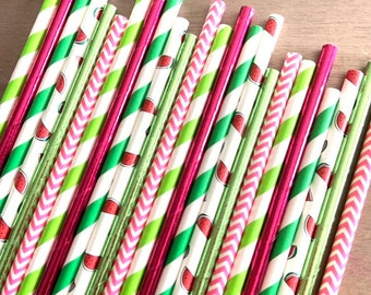 Watermelon Straws | Tropical Party Decor | Watermelon Party Decor | It's Sweet To Be One | Thanks A Melon | Watermelon First Birthday Party