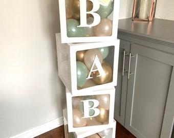 Baby Balloon Boxes | Baby Shower Blocks | Custom Baby Blocks | Custom Balloon Boxes | Sage Green Baby Shower Decor