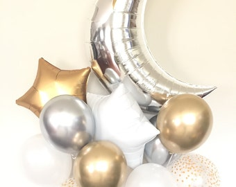 Twinkle Little Star Balloons | Twinkle Little Star Baby Shower Decor | Moon and Star Balloons | Gender Reveal Balloons | Gender Reveal Party