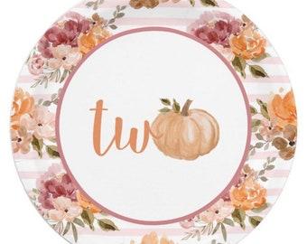 Little Pumpkin Plates Luncheon | Our Little Pumpkin is Two | Little Pumpkin First Birthday | Fall Second Birthday Dinner Plates