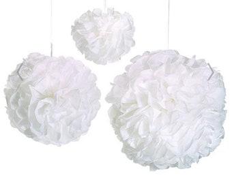 White Pom Poms | White Wedding Decor | White Tissue Pom Poms | White Tissue Paper Pom | White Bridal Shower Decor | White Wall Decor