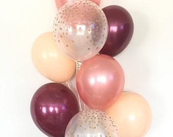 Blush and Burgundy Balloons | Rose Gold Balloon Bouquet | Rose Gold and Burgundy Balloon Bouquet | Blush Balloons | Blush Bridal Shower Deco