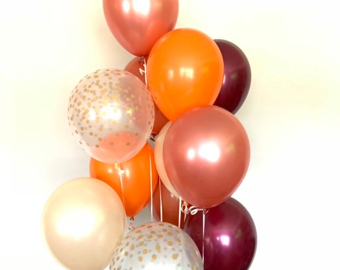 Fall Balloons | Fall Bridal Shower | Fall Baby Shower | Girl Little Pumpkin Baby Shower | Our Little Pumpkin is One Balloons | Rose Gold