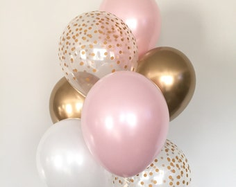 Pink Blush Balloons | Blush and Gold Balloons | Gold and Blush Balloons | Blush Bridal Shower Decor | Blush Baby Shower