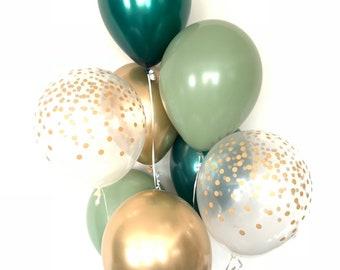 Green and Gold Balloons | Light Green Wedding Decor | Gold and Green Balloons | Eucalyptus Balloons | Dark Sage Green Bridal Shower Decor
