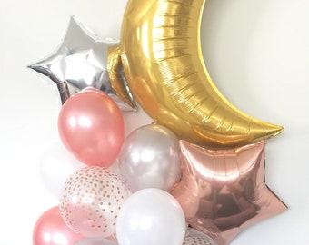 Rose Gold Balloon Bouquet | Twinkle Little Star Balloons | Rose Gold Balloons | Rose Gold Baby Shower Decor | Rose Gold Star Balloons