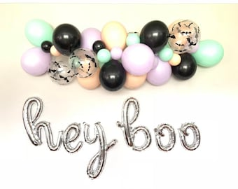 Hey Boo Balloons | Halloween Baby Shower Decor | Halloween Balloon Letters | Halloween Bridal Shower | Our Little Boo Is ONE | Script Balloo