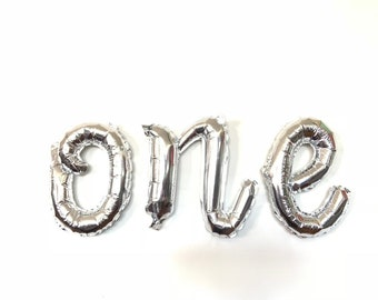 Silver One Balloon Letters | Wonderland First Birthday Balloons | Baby It's Cold Outside | Winter Baby Shower