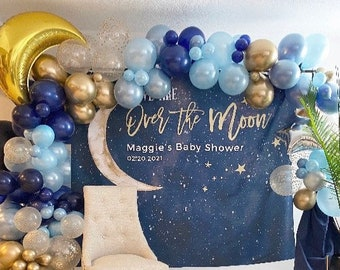 Over The Moon Balloons   Blue Twinkle Little Star Baby Shower Decor   It's A Boy Gender Reveal Balloons   Twinkle Little Star Balloons